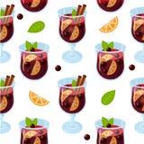 Rozmyślający wina glintwein wzór zdjęcie stock