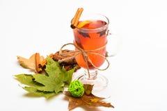 Rozmyślający wino lub gorący napój w wineglass z cynamonowymi kijami Szkło z rozmyślającym winem lub gorącym napojem blisko jesie Fotografia Royalty Free