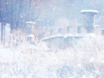 Rozmyta i abstrakcjonistyczna magiczna zima krajobrazu fotografia błyskotliwości narzuta Zdjęcie Royalty Free
