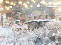 Rozmyta i abstrakcjonistyczna magiczna zima krajobrazu fotografia błyskotliwości narzuta Zdjęcia Stock
