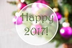 Rozmyte piłki, Różana kwarc, tekst Szczęśliwy 2017 Obrazy Stock