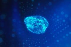 Rozmyty ludzki mózg na błękitnym tle w postaci sztucznego ilustracja wektor