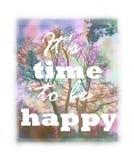 Rozmyty tło z drzewnym i pozytywnym sloganem tła tła projektu karty kwiecista ilustracja Zdjęcie Stock