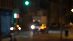 Rozmyty widok nocy światła przy nocą i ulicy zbiory