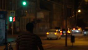 Rozmyty widok nocy światła przy nocą i ulicy zbiory wideo