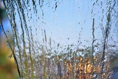 Rozmyty Wodny spadek w ogródzie, abstrakcjonistyczny tło Obrazy Stock