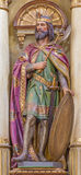 Roznava - Carved statue of st. Ladislavaus - king of Hungary from main altar of in st. Ann (Franciscans) church. Stock Photos