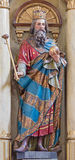 Roznava - Carved statue of st. Stephen - king of Hungary from main altar of in st. Ann (Franciscans) church. Stock Photography