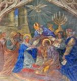 Roznava - Espousals av jungfruliga Mary och St Joseph av Teodor Kolbay (1863) i domkyrkan Arkivfoton