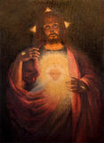Roznava - Herz von wieder belebtem Jesus Christ durch Maler Tichy von Jahr 1926 in der Sakristei der Kathedrale Stockbilder