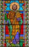 Roznava - Holy Joseph from windowpane from 19. cent. in the cathedral.from 19. cent. in the cathedral. Royalty Free Stock Photography