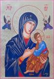 Roznava - The icon of Madonna with the child by Peter Nedoroscik 2004. ROZNAVA, SLOVAKIA - JULY 21, 2014: The icon of Madonna with the child by Peter Nedoroscik Stock Photo