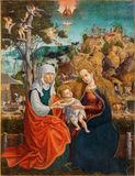 Roznava - Saint Ann, Virgin Mary and little Jesus. Paint from year 1513 by unknown painter. With the monogram L. A. in the cathedral royalty free stock photos