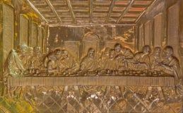 Roznava - sollievo del metallo di ultima cena di Cristo dall'altare principale barrocco nella cattedrale Fotografia Stock