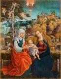 Roznava - St Ann, Virgem Maria e Jesus pequeno Pinte do ano 1513 por pintor desconhecido fotos de stock royalty free