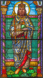 Roznava - St. Stephen - king of Hungary from windowpane from 19. cent. in the cathedral of Assumption of Virgin Mary. Stock Image