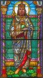 Roznava - St Stephen - konung av Ungern från fönsterruta från 19 cent i domkyrkan av antagandet av jungfruliga Mary Fotografering för Bildbyråer