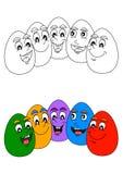 Rozochoceni barwioni Easter jajka jako kolorystyki książka dla młodych dzieci Obraz Stock