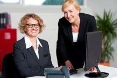 Rozochoceni bizneswomany pracuje w biurze Zdjęcia Royalty Free