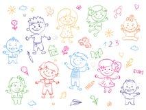 Rozochoceni dzieci stoi wpólnie, rysunki, obrazy Dziewczyny i chłopiec są na białym tle w liniowym ilustracji
