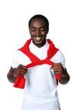 Rozochocona afrykańska sportowiec pozycja Fotografia Stock