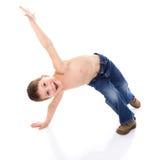 Rozochocona chłopiec błaź się wokoło Zdjęcia Stock