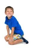 Rozochocona chłopiec zdjęcie royalty free