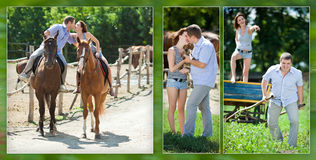 Rozochocona kochająca para na spacerze z brown koniami Obrazy Stock