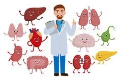 Rozochocona lekarka i zdrowi organów postać z kreskówki odizolowywający na białym tle Medycznego checkup pojęcia ilustracja royalty ilustracja