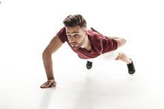 Rozochocona męska atleta robi Ups Zdjęcia Stock