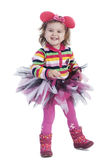 Rozochocona mała dziewczynka na białym tle Fotografia Stock