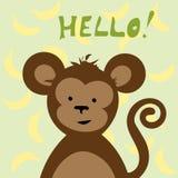 Rozochocona małpa i banan wektorowa ilustracja dla kartka z pozdrowieniami ilustracja wektor