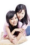 Rozochocona mama i jej dziecko zdjęcie stock