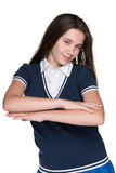 Rozochocona nastoletnia dziewczyna przeciw bielowi Obraz Stock