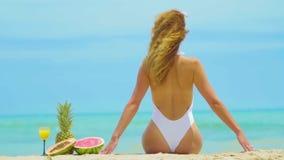 Rozochocona piękna młoda dziewczyna siedzi z ich plecy na plaży morzem zbiory