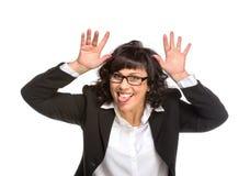 Rozochocona starsza biznesowa kobieta zdjęcia stock