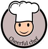 Rozochocona szefa kuchni Smiley A prosta konturowa ikona wektor Obraz Stock