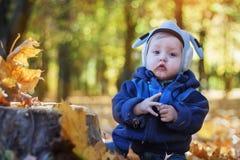Rozochocona uśmiechnięta chłopiec w jesień parku obraz royalty free