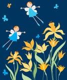 Rozochocone elf dziewczyny lata nad daffodils Fotografia Royalty Free