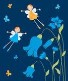 Rozochocone elf dziewczyny lata nad kwiatami Zdjęcia Stock