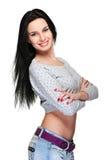 rozochoconego włosy długa ładna kobieta Fotografia Stock