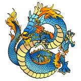 Rozochoconej błękitne wody azjatykci smok na bielu Zdjęcia Royalty Free