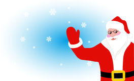 Rozochocony Święty Mikołaj wita na tle płatki śniegu Obraz Stock