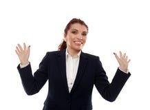 Rozochocony bizneswoman na bielu zdjęcie royalty free