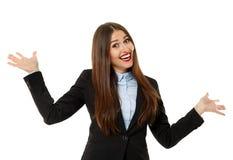 Rozochocony bizneswoman na bielu zdjęcia stock