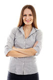 Rozochocony bizneswoman z rękami składać zdjęcie stock