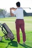 Rozochocony golfista napędzająca mężczyzna piłka pomyślnie zdjęcie royalty free