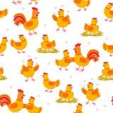 Rozochocony karmazynek i kogutów bezszwowy wzór Kurczak postacie z kreskówki odizolowywać na białym tle w płaskim projekcie royalty ilustracja