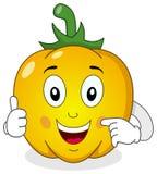 Rozochocony koloru żółtego pieprzu postać z kreskówki Zdjęcie Stock