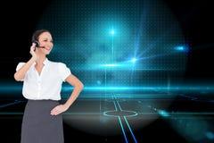 Rozochocony mądrze centrum telefoniczne agenta działanie Obraz Stock